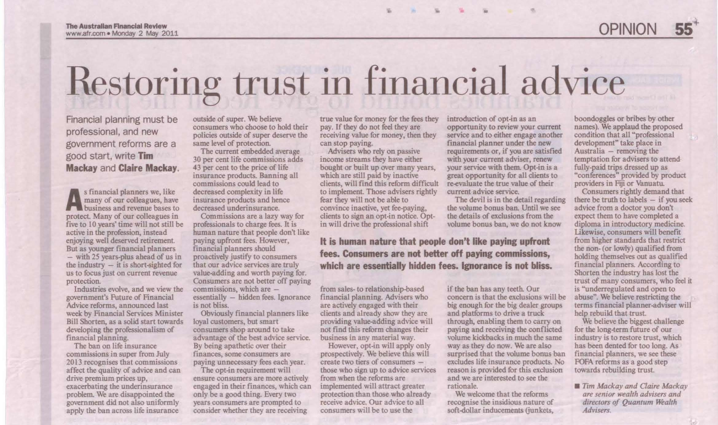 Professionalism in financial planning